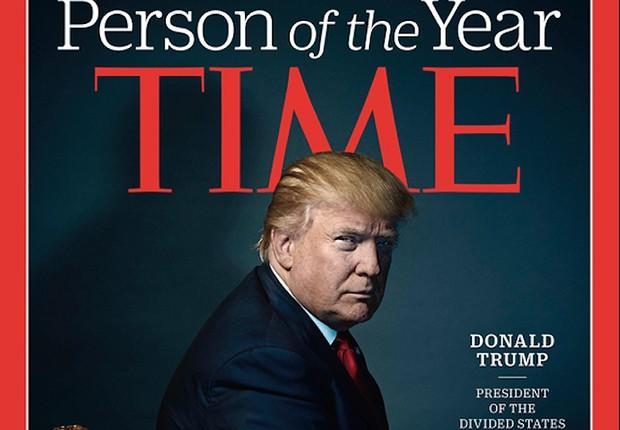Donald Trump na capa da edição da Personalidade do Ano da revista Time (Foto: Reprodução/Twitter)