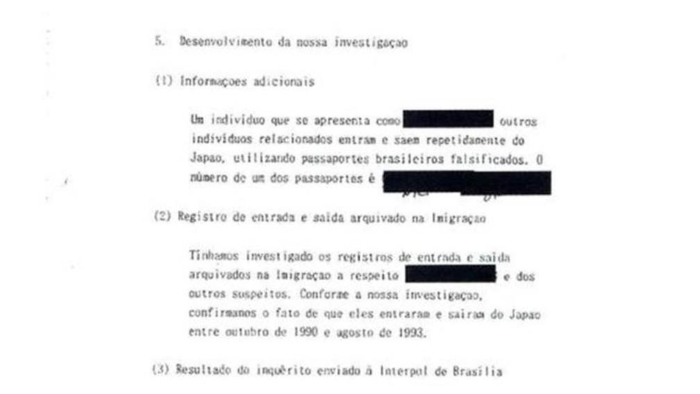 Trecho do pedido da polícia japonesa, com detalhes das investigações que colocava sob suspeita a autencidade dos passaportes brasileiros (Foto: BBC)