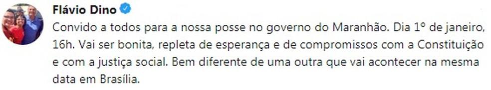Flávio Dino comenta em rede social que sua posse será um ato de compromissos com a Constituição e com a justiça social — Foto: Reprodução/Twitter