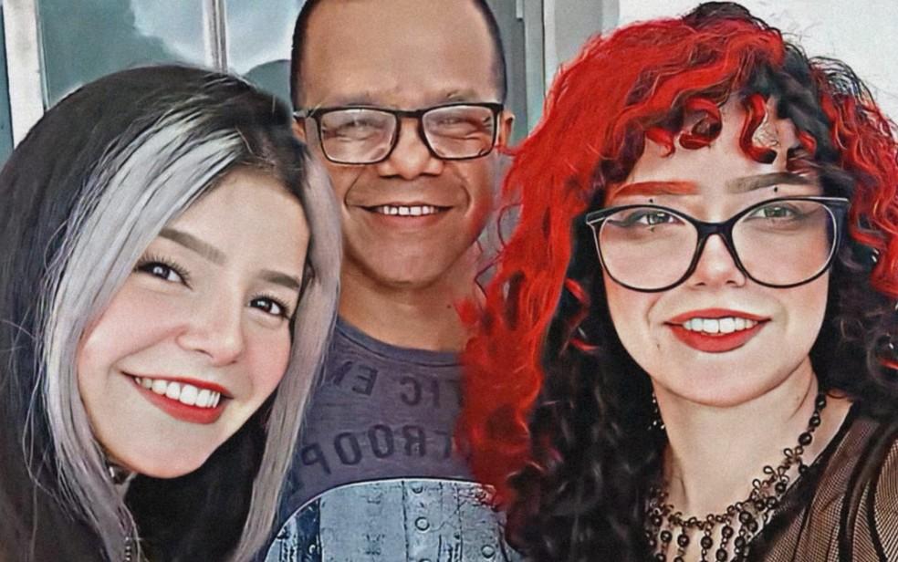 Gêmeas Milton César Dias e Dhara Tavares dias juntas do pai, Milton César Dias, em Jataí — Foto: Arquivo pessoal/Milton César Dias