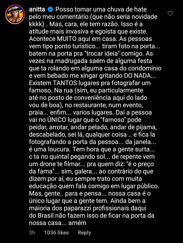 Anitta comenta sobre fãs em sua casa (Foto: Reprodução/Instagram)