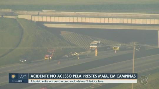 Acidente entre carro e moto deixa trânsito lento em trevo da Rodovia Anhanguera, em Campinas