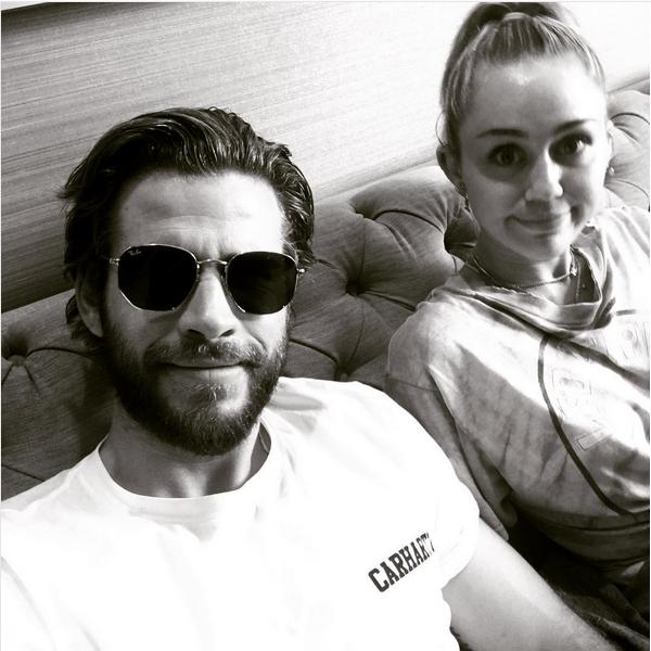 O ator Liam Hemsworth e a cantora Miley Cyrus (Foto: Instagram)