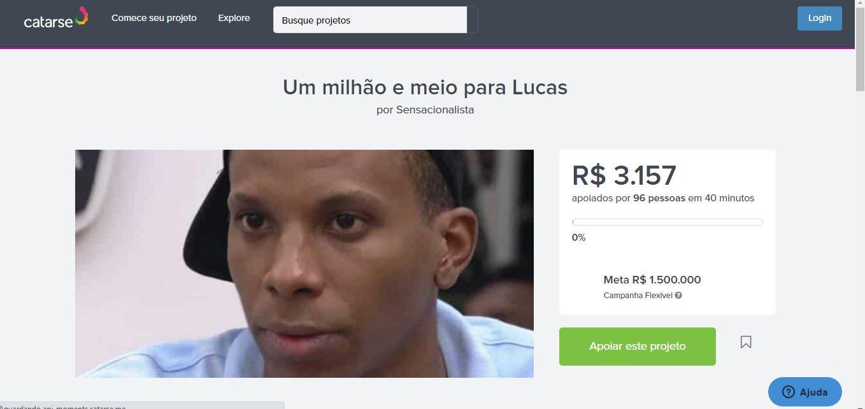 Lucas Penteado recebe vakinha dos internautas (Foto: Reprodução / Twitter)