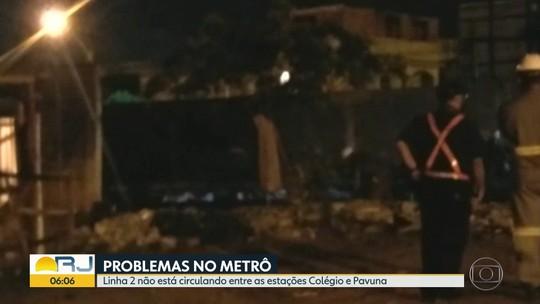 Muro cai sobre trilhos do metrô na Zona Norte do Rio e restringe circulação