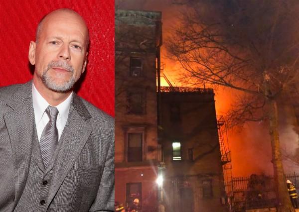 O ator Bruce Willis e o incêndio no set do filme que resultou na morte de um bombeiro (Foto: Getty Images/Twitter)