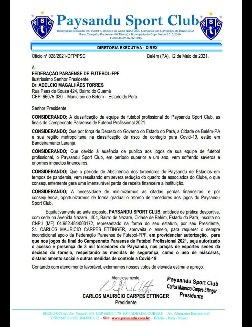 Ofício do Paysandu enviado à FPF solicitando a liberação de público na final do Parazão — Foto: Divulgação/Paysandu Sport Club