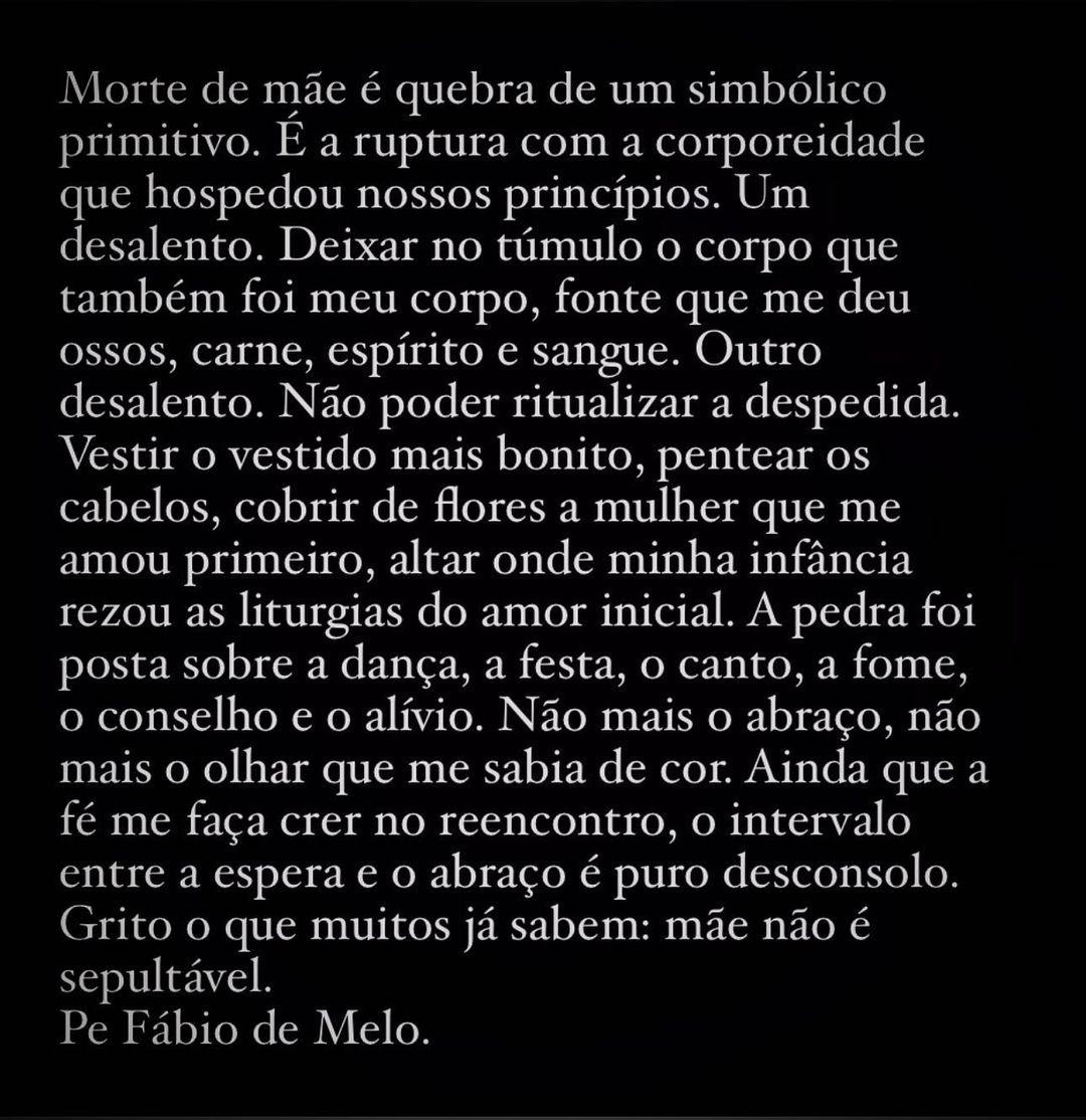 Padre Fábio de Melo lamenta morte da mãe (Foto: Reprodução/Instagram)