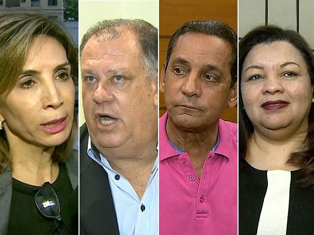 Da esquerda para a direita: a prefeita de Ribeirão Preto, presa, Dárcy Vera (PSD); o vice que renunciou, Marinho Sampaio (PMDB), o presidente afastado da Câmara, Walter Gomes (PTB); e a chefe interina do Legislativo, que também não pode assumir Prefeitura (Foto: Reprodução/EPTV)