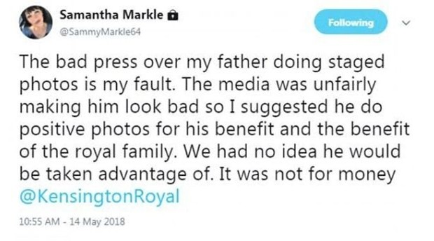 Tweet de Samantha Markle (Foto: Reprodução/Twitter)