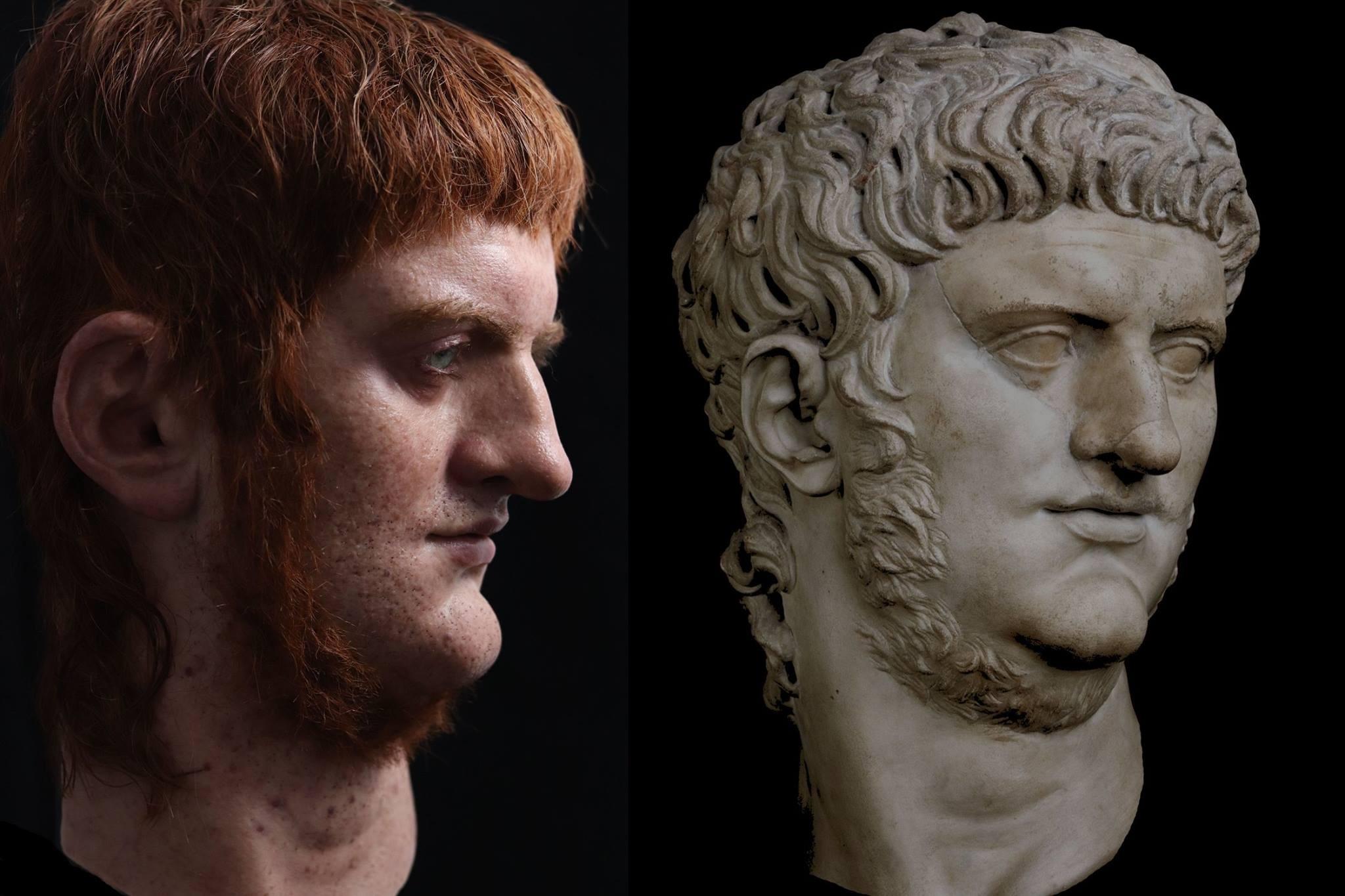 Comparação do busto de Nero feito pelo Césares de Roma com uma escultura antiga (Foto: Césares de Roma / Facebook)