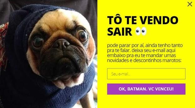 """Batman, o """"CEO"""" da Dobra, aparece quando usuário fecha o e-commerce da empresa (Foto: Reprodução)"""