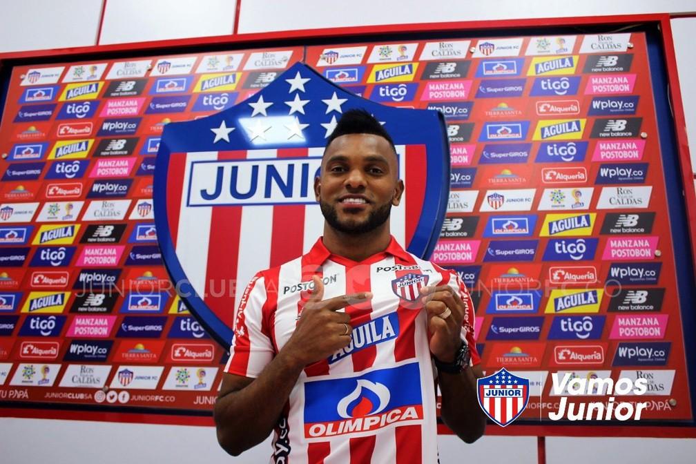 Borja está emprestado ao Junior Barranquilla — Foto: Divulgação/Junior Barranquilla