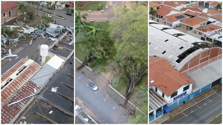 VÍDEOS: Imagens aéreas mostram rastro de destruição causado por microexplosão em Pirassununga