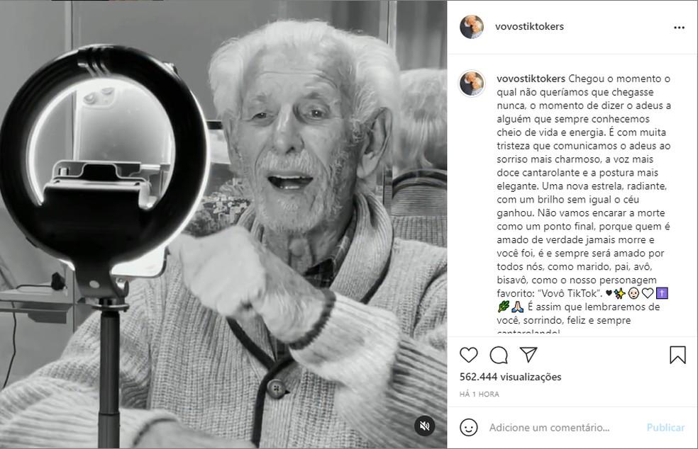 Conta oficial do casal anunciou a morte de Nelson Miolaro na manhã desta quinta-feira (15) — Foto: Reprodução/Redes Sociais