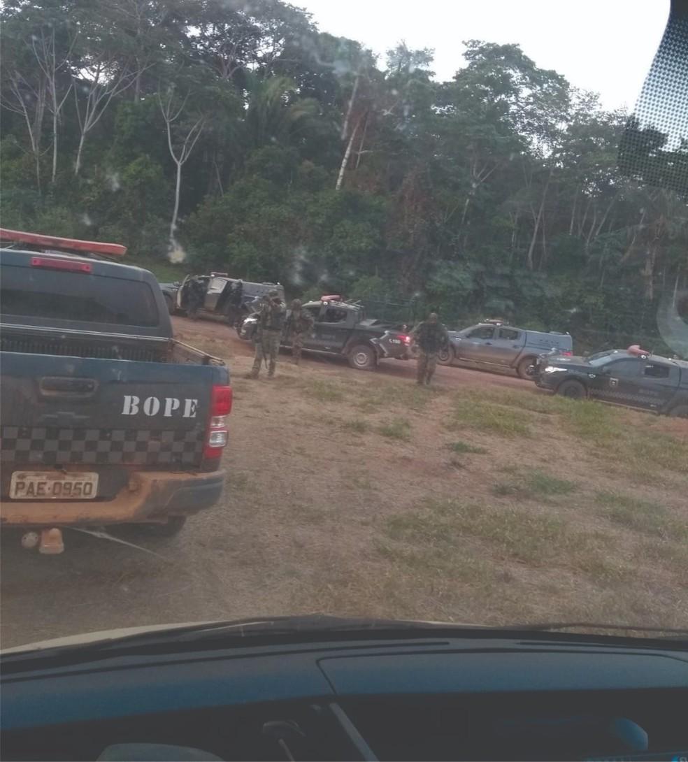 Operação na área da Fazenda Santa Carmem em distrito Porto Velho — Foto: Bope/Reprodução