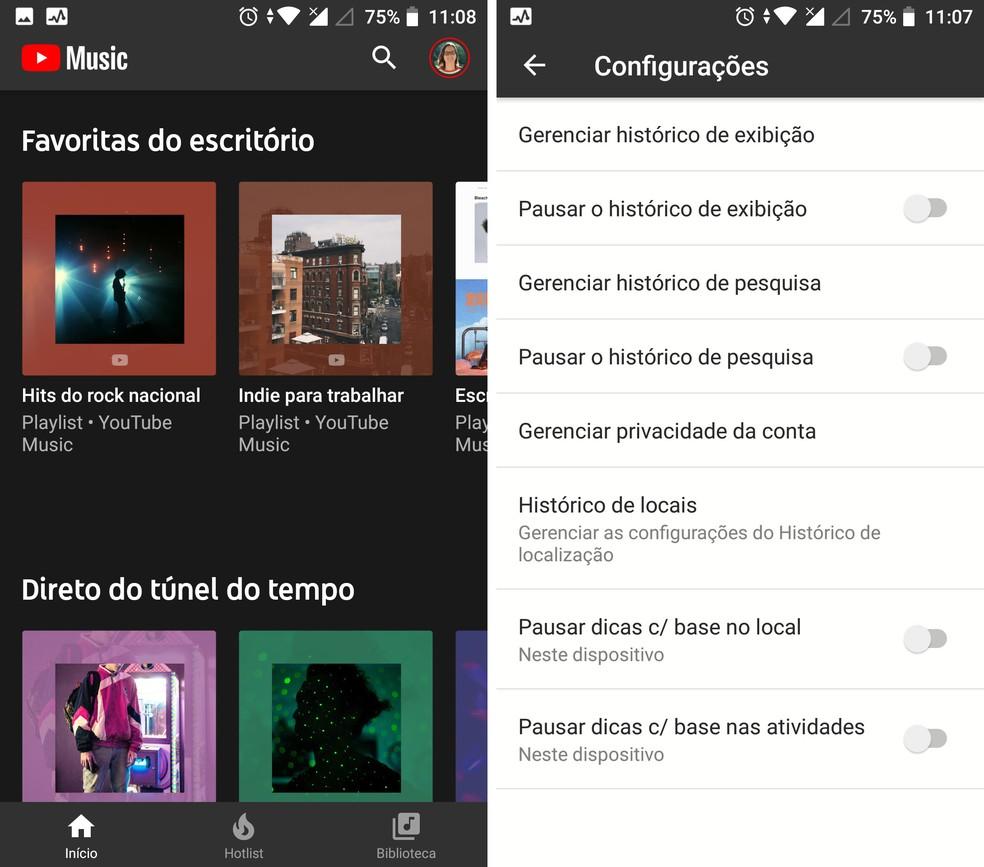 YouTube Music faz recomendações com base em localização — Foto: Reprodução/Isabela Cabral