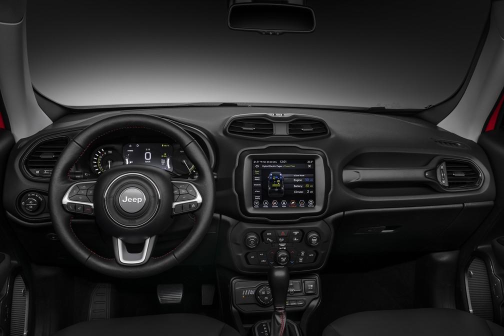 Jeep Renegade híbrido plug-in interior — Foto: Divulgação/FCA