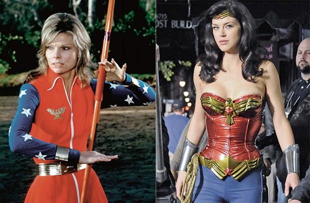 A personagem em dois momentos: à esq., em 1974, com Cathy Lee Crosby para um filme na TV ABC. À dir., Adrianne Palicki para uma série no Canal Warner, Em 2011 (Foto: Grupo Keystone)