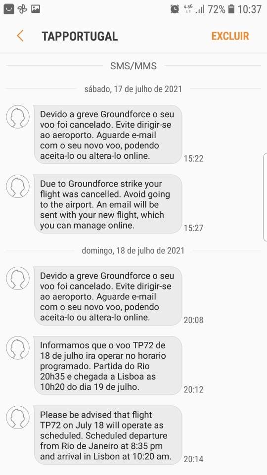 Mensagens enviadas pela TAP à Bianca Martinelli