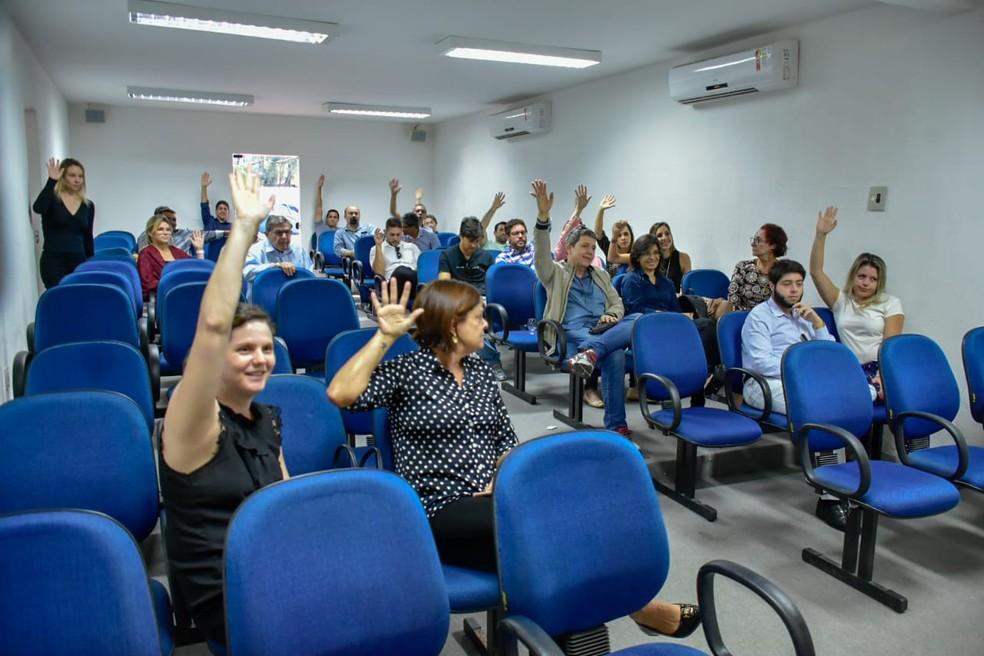 Delegados da Polícia Civil do RN decidiram iniciar paralisação durante assembleia da Adepol — Foto: Pedro Vitorino