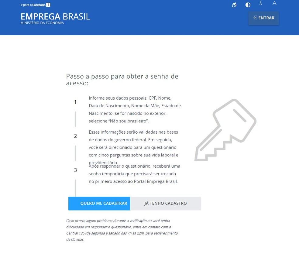 Página de cadastro da carteira de trabalho digital — Foto: Reprodução