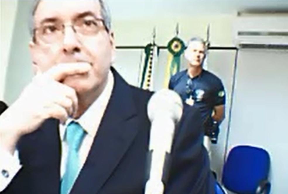 O deputado cassado Eduardo Cunha prestou depoimento à Justiça Federal em Brasília (Foto: Reprodução, Justiça Federal)
