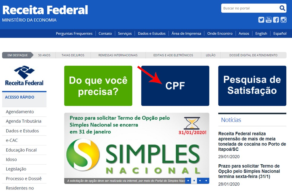 Página inicial do site da Receita Federal — Foto: Reprodução/Ana Letícia Loubak