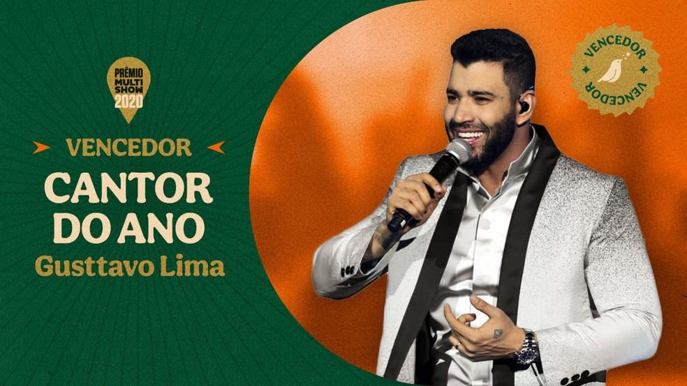 Gusttavo Lima vence a categoria Cantor do Ano — Foto: Divulgação Multishow