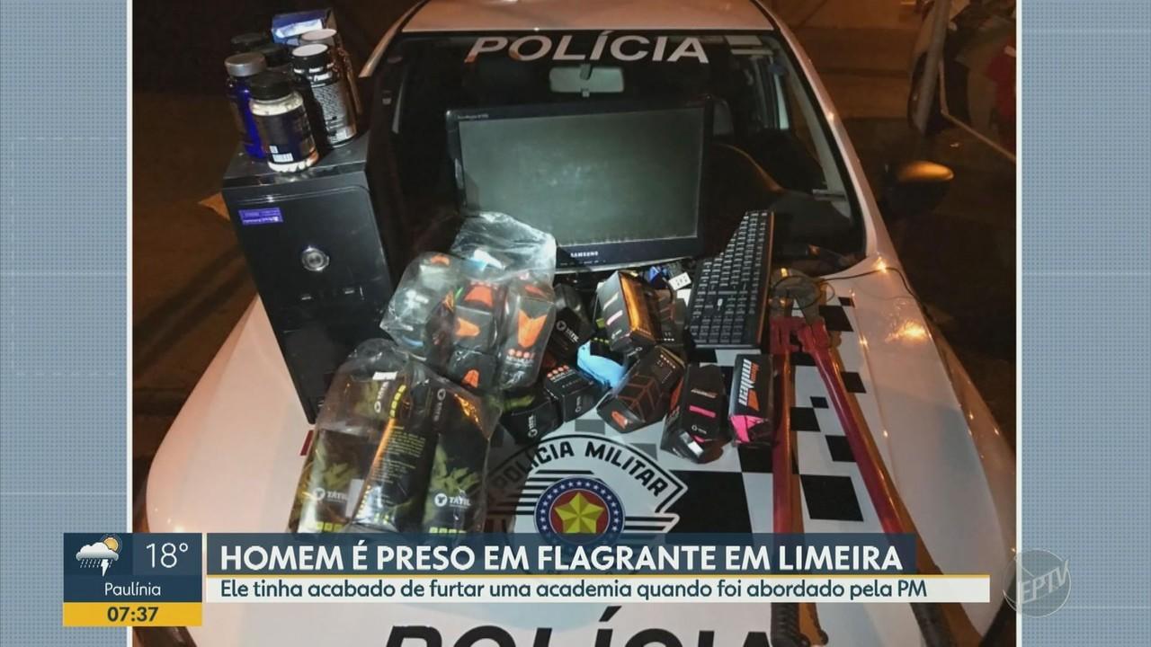 Polícia prende homem em flagrante após furto de academia em Limeira