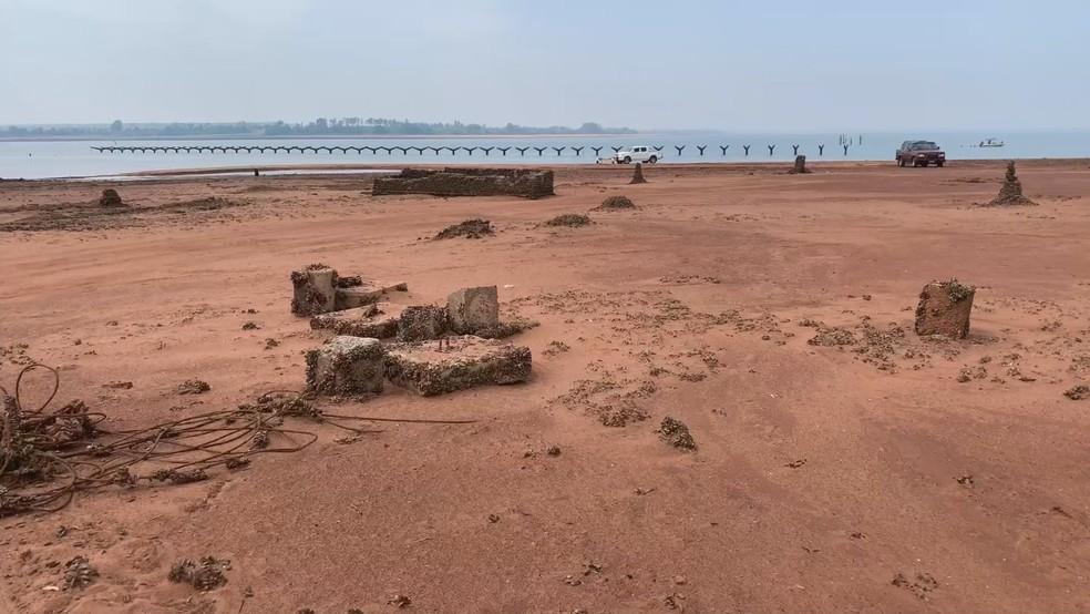 Ruínas de 'antiga cidade de Rubineia' reapareceram — Foto: Reprodução/Tv Tem