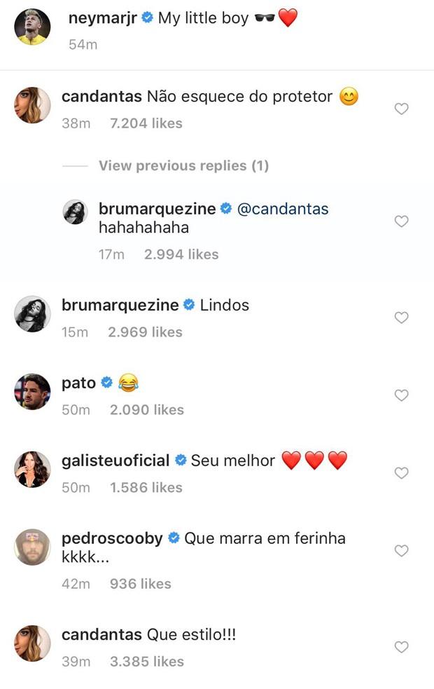 Carol Dantas e Bruna Marquezine comentam foto de Neymar (Foto: Reprodução/Instagram)