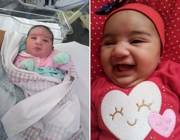 Á esquerda, Cecília logo após o nascimento; e, á direita, com três meses (Foto: Arquivo pessoal)