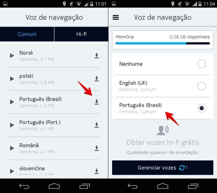 Baixando e ativando comandos de voz em português (Foto: Reprodução/Helito Bijora)