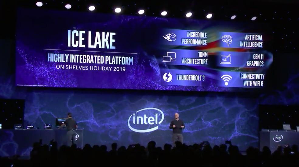 Intel mostra o chip Ice Lake na CES 2019 — Foto: Reprodução/Intel