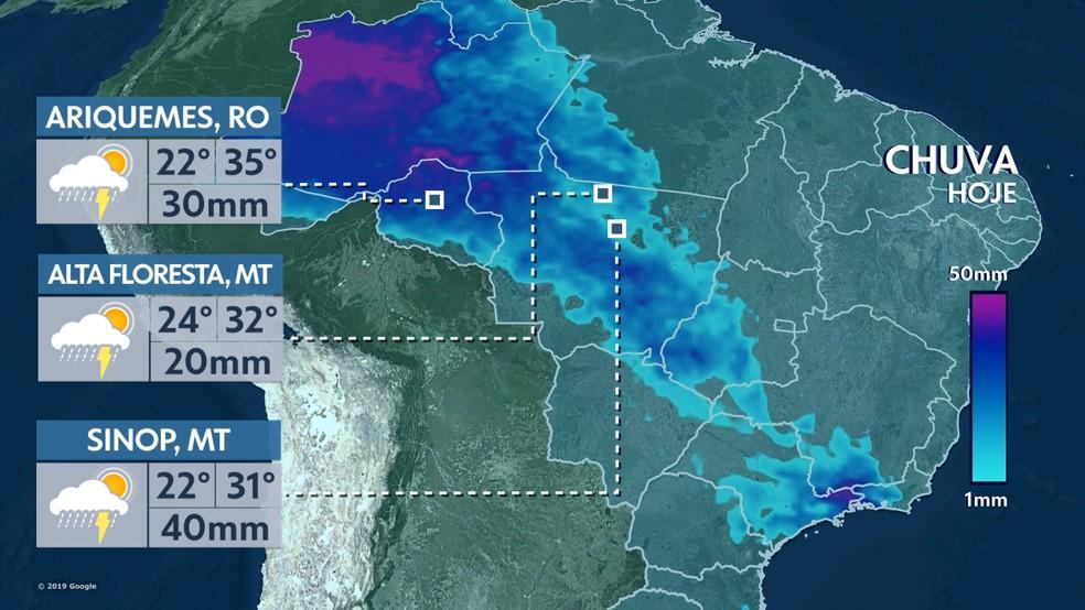 Chuva hoje Brasil 08/10/19 — Foto: Reprodução TV GLOBO