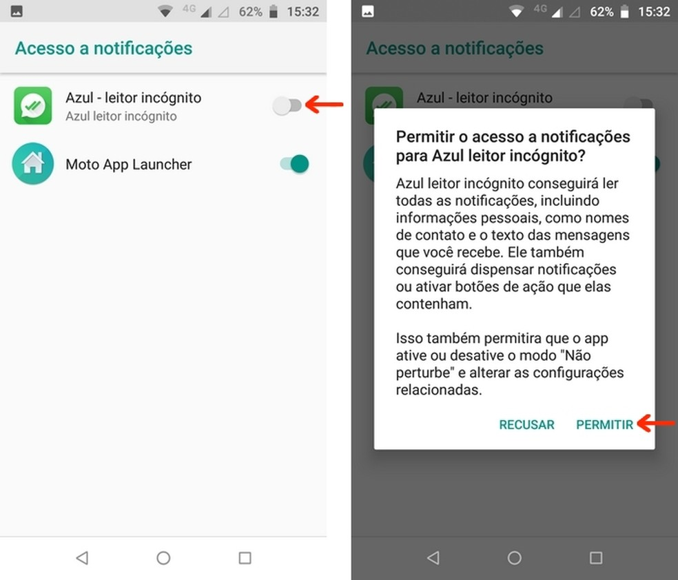 Conceda permissão de acesso ao Blue Tick, Read Hider pelas notificações do Android — Foto: Reprodução/Raquel Freire