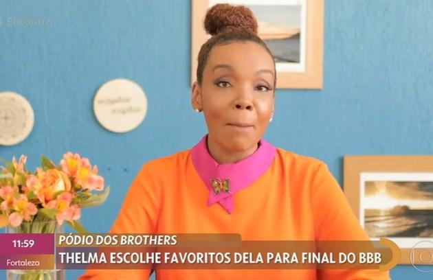 """Vencedora da edição do """"BBB"""" do ano passado, Thelma declarou a sua torcida por Gil do Vigor numa participação no 'Encontro com Fátima Bernardes' (Foto: Reprodução)"""