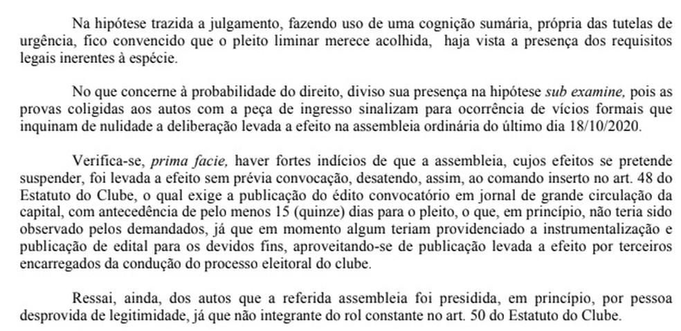 Trecho da decisão do juiz Ricardo da Silva Brito, suspendendo a eleição do último dia 18 no Botafogo-PB — Foto: Reprodução