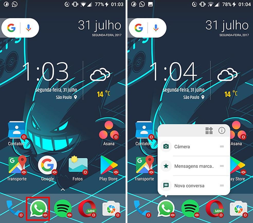 Versão Beta do WhatsApp para Android ganhou atalhos no ícone  (Foto: Reprodução/Elson de Souza)