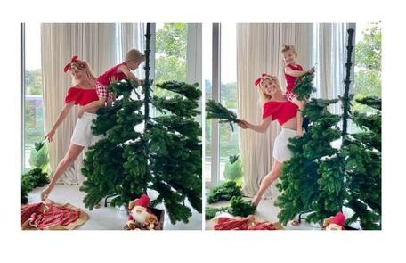 Gigantesca, a árvore de Karina Bacchi animou o filho da atriz, Enrico Reprodução
