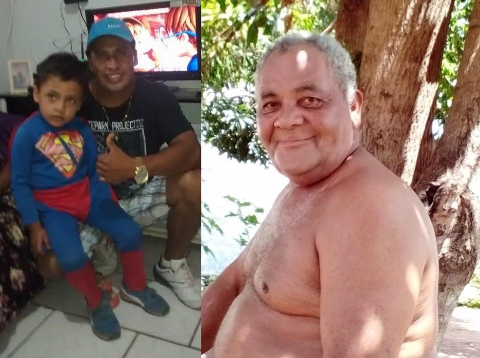 Marcelo Ortiz da Silva, 42 anos, e o filho de Marcelo, de 7 anos, e o tio Elias Figueiredo da Silva, de 58 anos, morreram afogados no Rio Paraguai em Cáceres — Foto: Arquivo pessoal