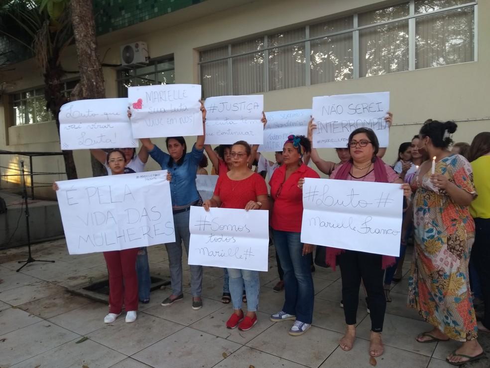 Grupo fez manifestação contra assassinato de Marielle Franco, vereadora do Rio de Janeiro (Foto: Iryá Rodrigues/G1)