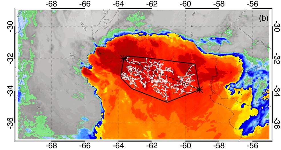 Imagem de satélite mostra o maior raio do mundo, em extensão: ele cortou o Sul do Brasil em outubro de 2018, percorrendo uma distância de 709 km. — Foto: Divulgação/OMM