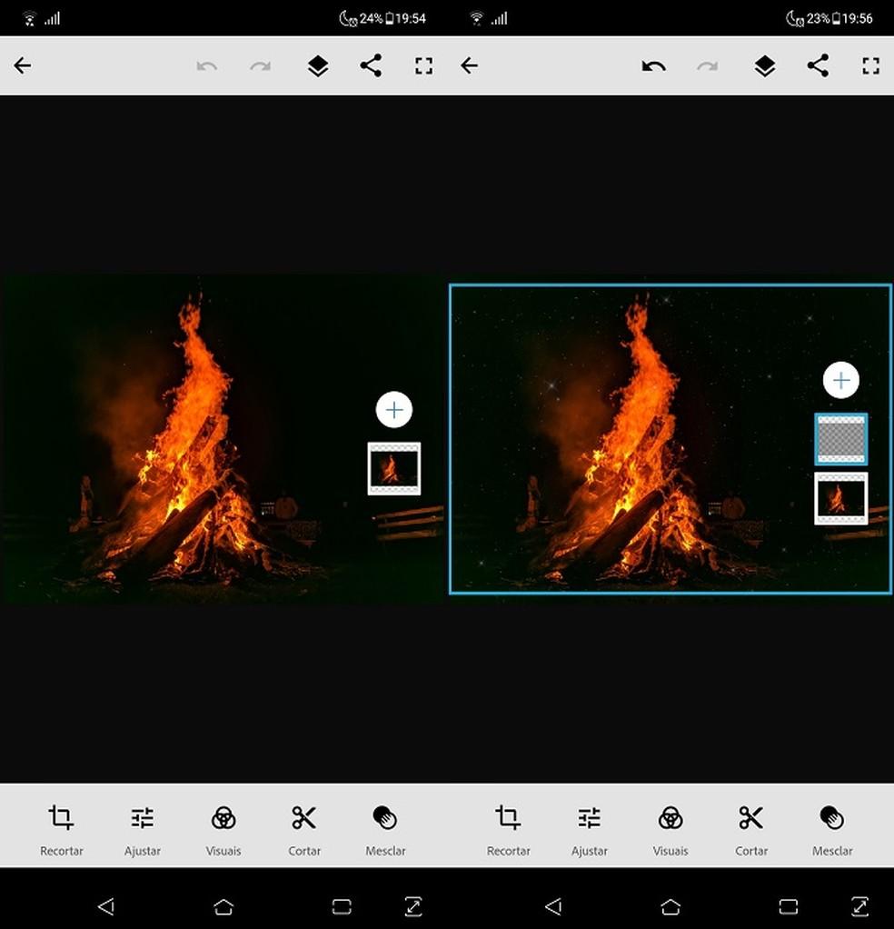 Técnica de exposição dupla nativa do Photoshop Mix usa duas fotografias para criar uma montagem — Foto: Fernando Telles/TechTudo