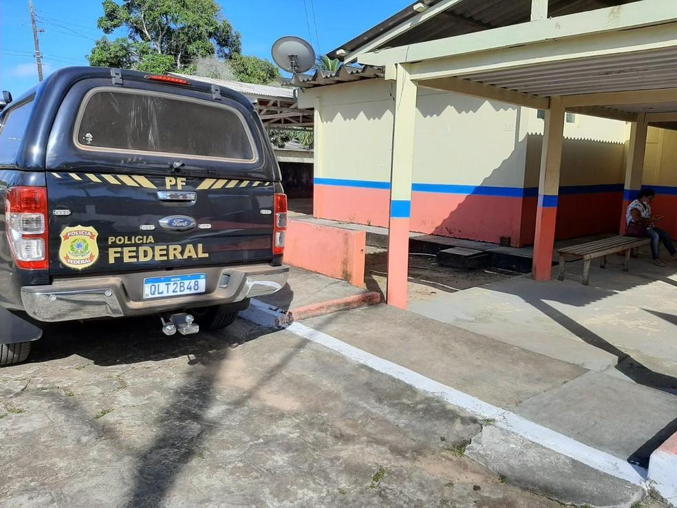 Viatura da PF em local alvo de cumprimento de mandados — Foto: Polícia Federal/Divulgação