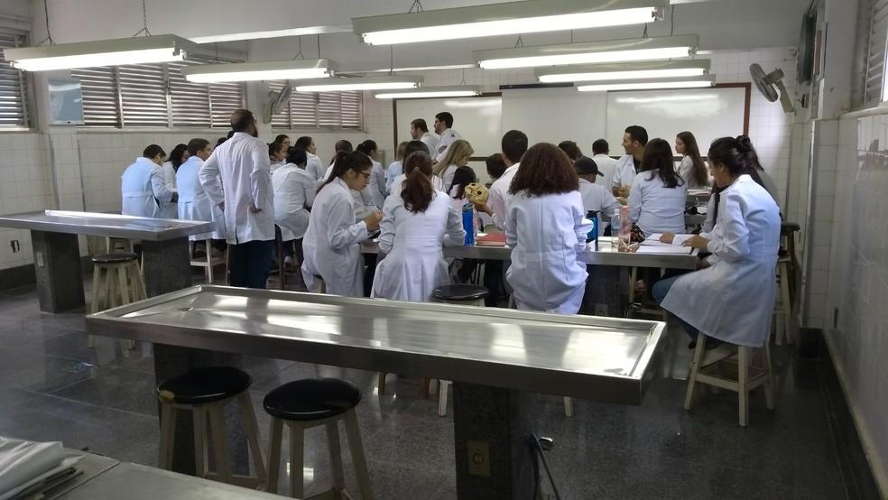 Estudantes visitam laboratório de anatomia na UFF Nova Friburgo, no RJ — Foto: Divulgação/UFF