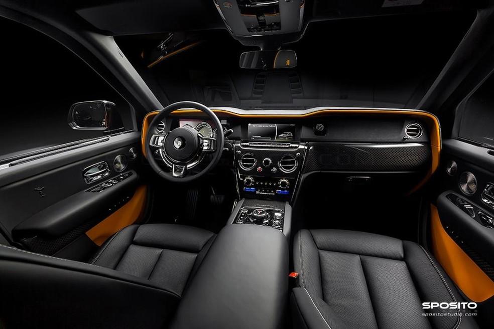 Interior do Cullinan Black Badge — Foto: Rolls-Royce Motor Cars São Paulo/Sposito Studios