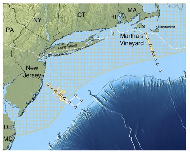 Área em que os cientistas encontraram o aquífero, na costa dos EUA (Foto: Adaptado de Gustafson et al., Scientific Reports, 2019)