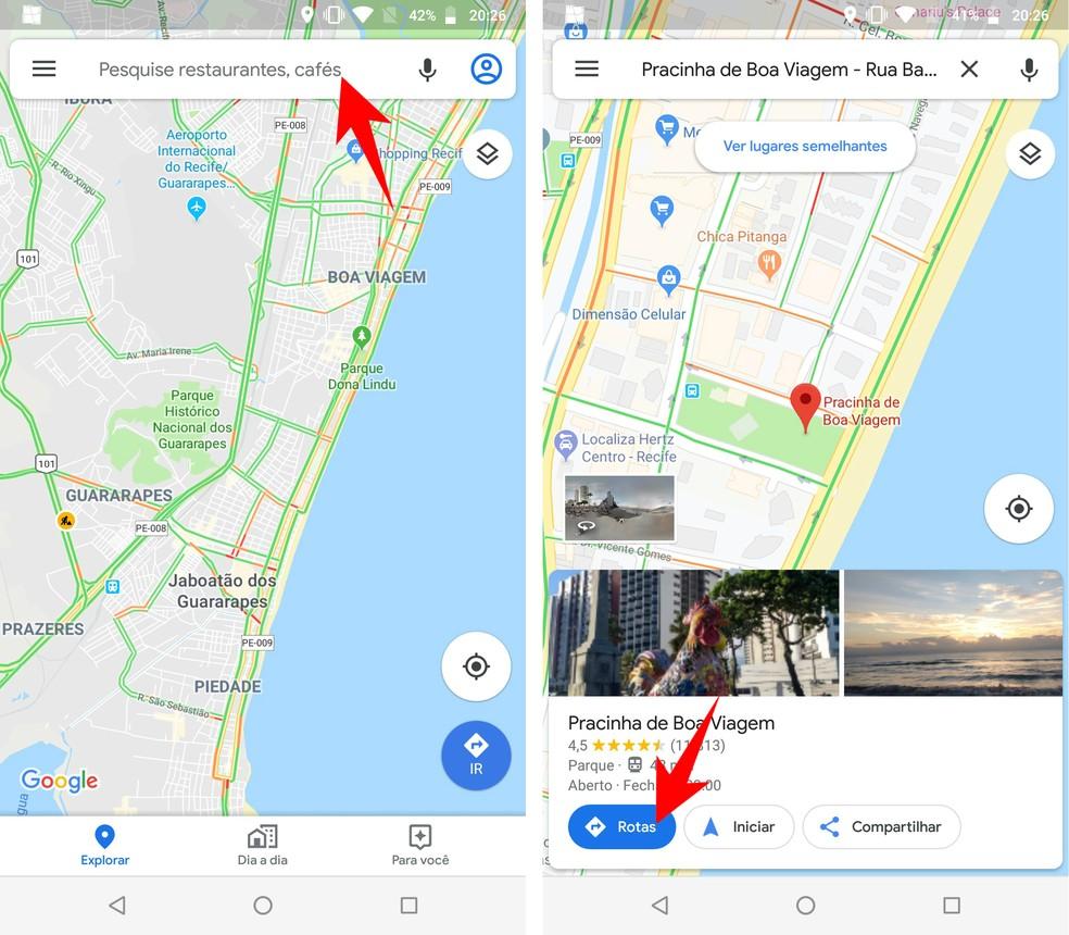 Pesquisando um local no Google Maps — Foto: Reprodução/Rodrigo Fernandes
